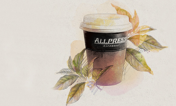 All Press Coffee Cup Illustration