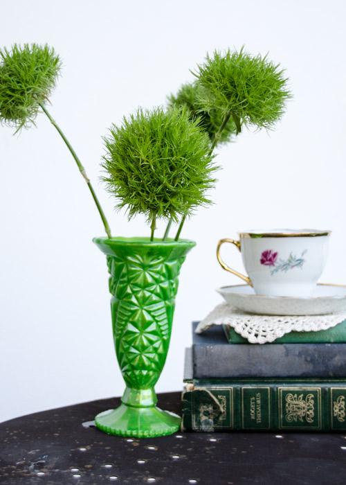 Bravo Juliet Designs vintage inspired green resin vases
