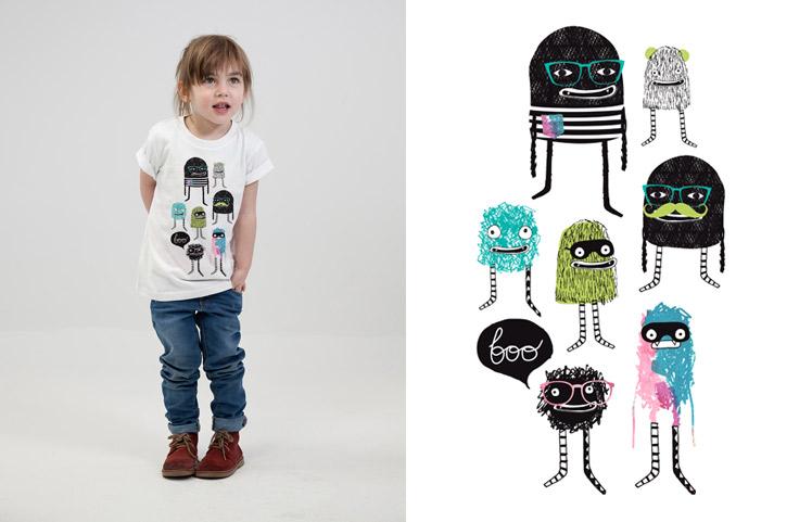 Laura Blythman artist little monsters kids t-shirt