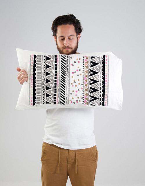 Laura Blythman artist screen printed pillowcases