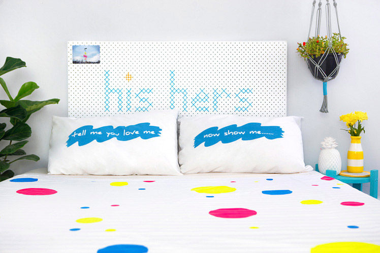 Taylor + cloth screen printed pillowcases bedding
