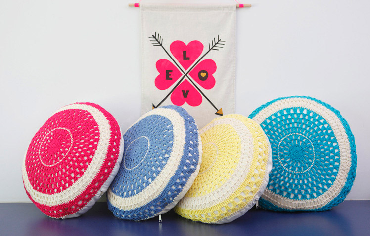 Taylor + cloth crochet cushion flag