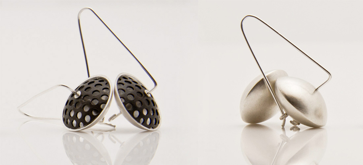 Alison Jackson silver and perforated pod earrings