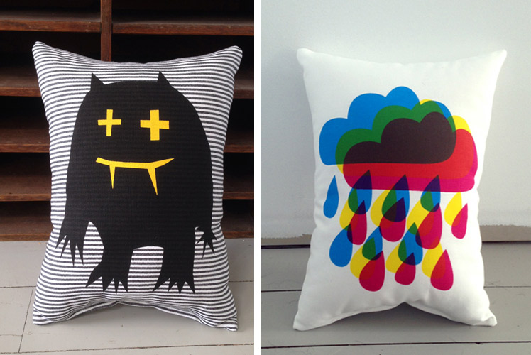 Freddy-Alphabet cushions monster and rain