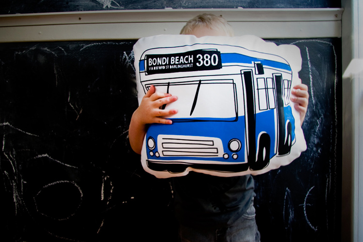 Freddy Alphabet Bondi Beach Bus 380 cushion