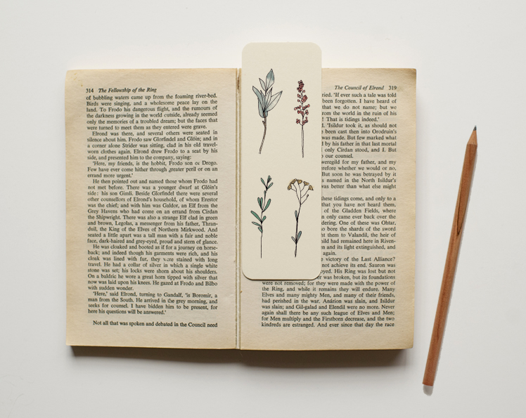 An April Idea botanical book mark