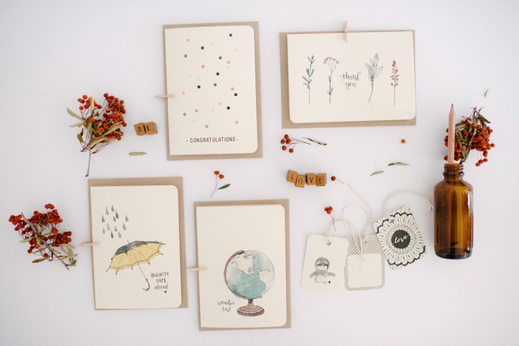 An April Idea stationery illustrated cards