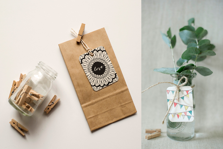 An April Idea bunting gift tag lolly bag