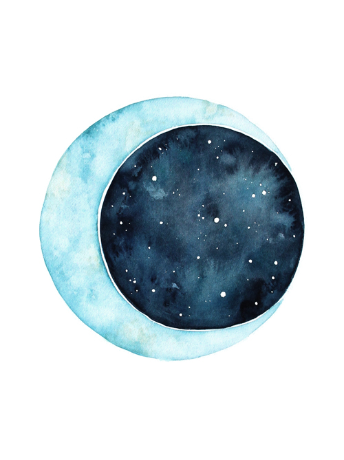Lauren Merrick Illustration Art Print To the moon