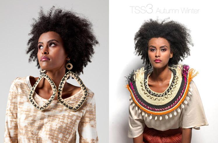 Maryann Talia Pau weaver earrings neck piece