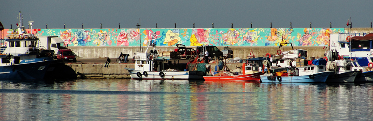 Martinich&Carran Painting 50meter long Mural in Sile Turkey