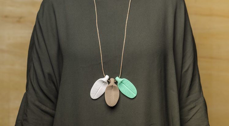 Dear Mabel Handmade Feather Clay Necklace