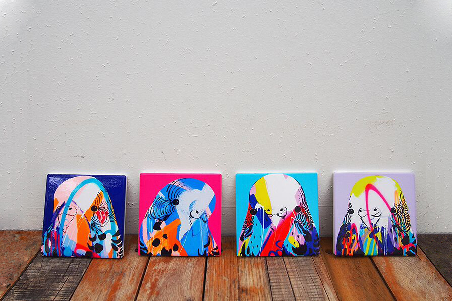 Image features Budgie Coasters by Anya Brock