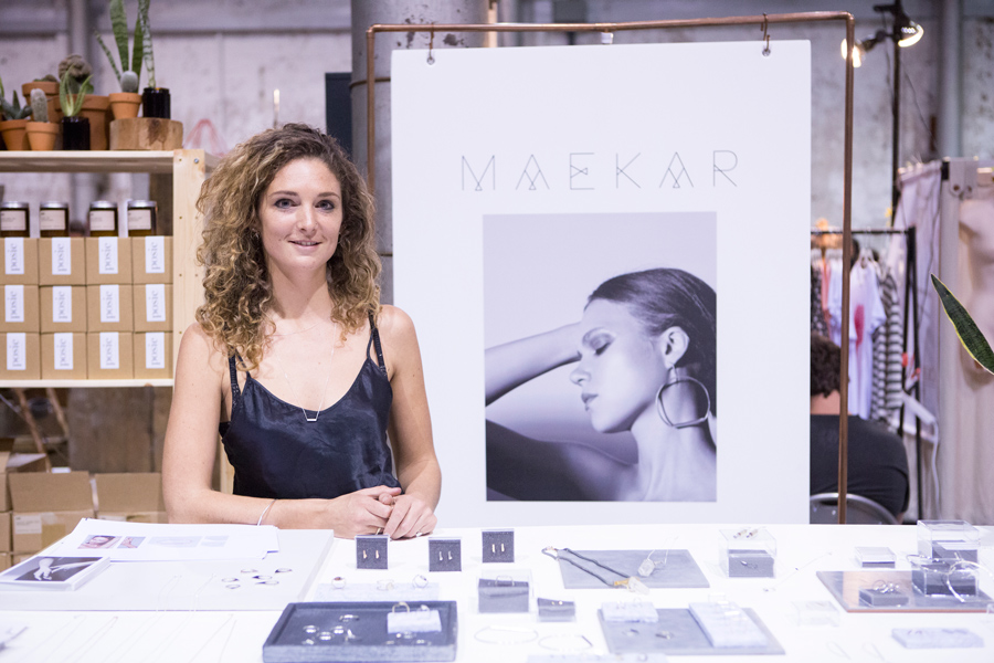 Image features jeweller Sarah with her collection for Maekar captured at our Sydney market by Mark Lobo