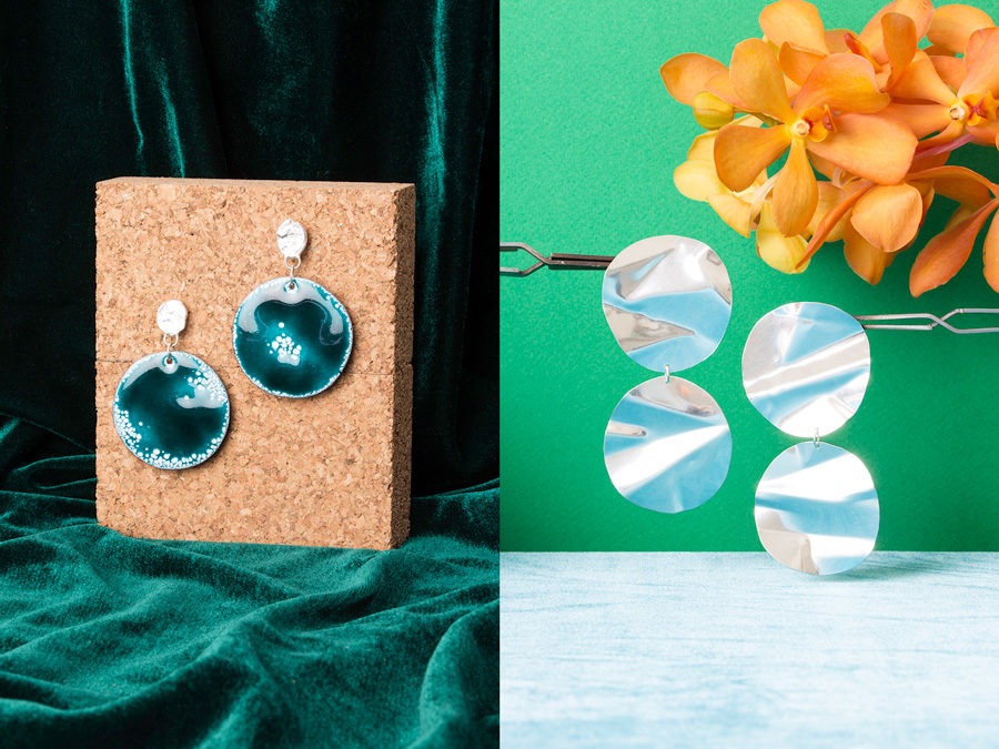Peppermint Imaginary Planet and Fold Earrings by handmade Ada Hodgson