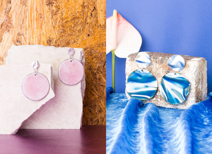 Dusty Blush Imaginary Planet and Blue Oil Slick Earrings by Ada Hodgson